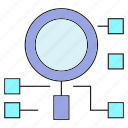 analytics, magnifier, optimization, search icon