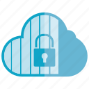 cloud, key, lock, network, secure, security, server icon