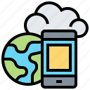 cloud, data, global, storage, technology icon