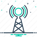 broadcast, connection, network, signal, tower, transmission, wireless antenna icon
