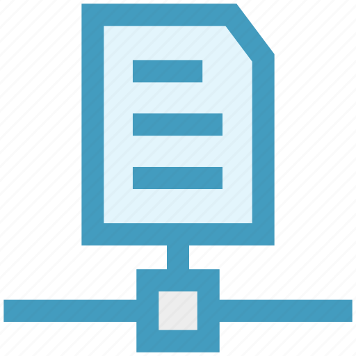 connection, document, file, network, paper, technology icon