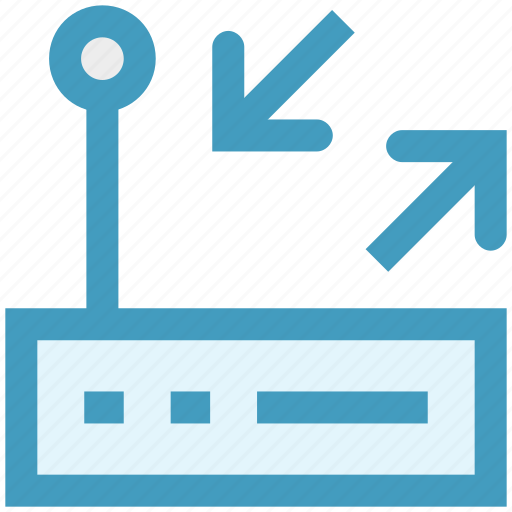 arrows, modem, router, signals, technology, wifi router icon