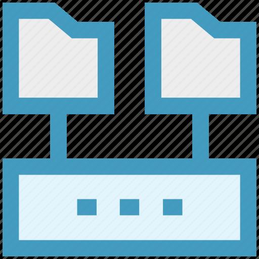 folders, hosting, network, server, sharing, storage, technology icon