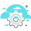 cloud, cog, computing, gear, management, transfer icon