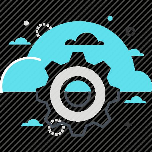 cloud, cog, computing, gear, management, transfer icon
