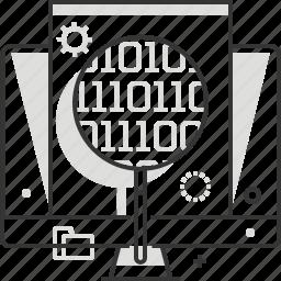 big, code, computer, data, magnifier, programming, software icon