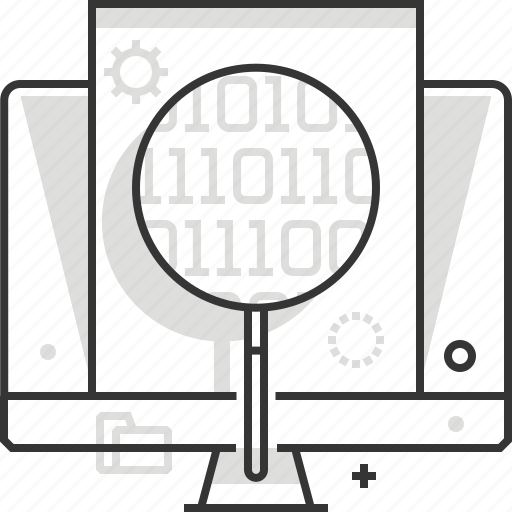 big, code, computer, data, magnifier, programming, software icon
