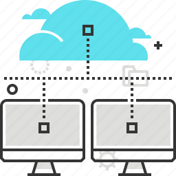 cloud, computer, data, network, router, share, social icon