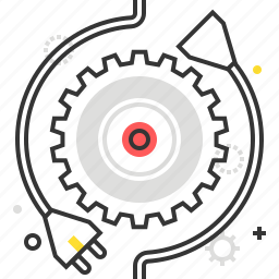 cog, connection, data, electric, gear, plug, process icon