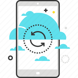cell, cloud, mobile, phone, smart, synchronisation, transfer icon