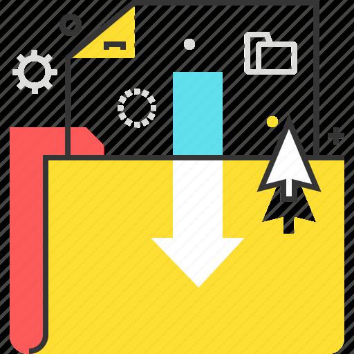 arrow, computer, download, downloading, file, folder, internet icon