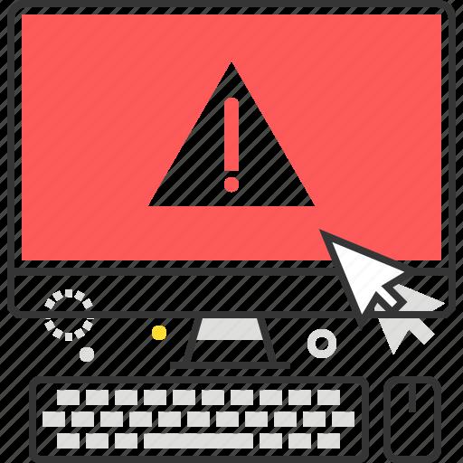 computer, cross, desktop, error, exclamation, problem, red icon