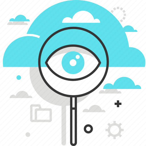 cloud, computing, data, eye, magnifier, search, share icon
