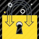 arrow, lock, password, security, unlock, virus icon