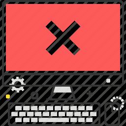 computer, cross, desktop, error, problem, red icon