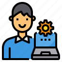 administrator, computer, laptop, setting, worker