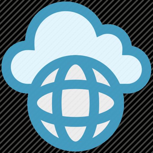 cloud, cloud globe, global, planet, server, storage, world icon