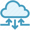 arrows, cloud, data, data sharing, network, sharing, technology icon