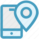 call, location, map pin, mobile, phone, smartphone, technology icon