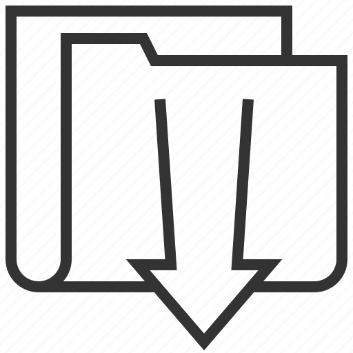 arrow, data, document, download, folder, paper, storage icon