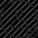 avatar, cross, delete, human, person, remove, user icon icon