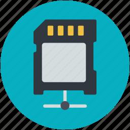 data sd card, digital connector, gigabyte, megabyte, microchip icon