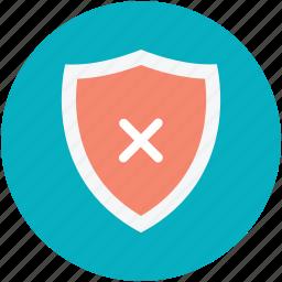 insecure, risky, shield cross, unsafe, unsure icon