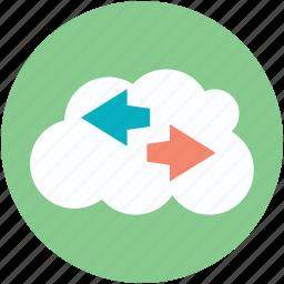 arrow directions, cloud, cloud computing, left arrow, right arrow icon