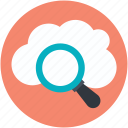 cloud magnifying, cloud search, internet exploring, online search, search concept icon