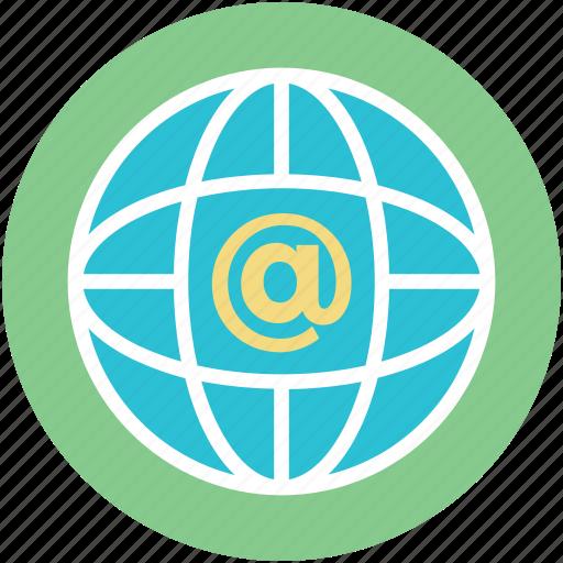arroba sign, globe, internet, map, world icon