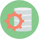 data storage, database, database setting, gear sign, storage administration icon