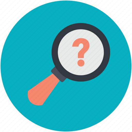 discovery, exploration, magnifier, questionmark, searching icon