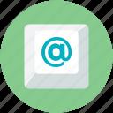 arroba sign, communication, domain, email symbol, keyboard key, marketing icon