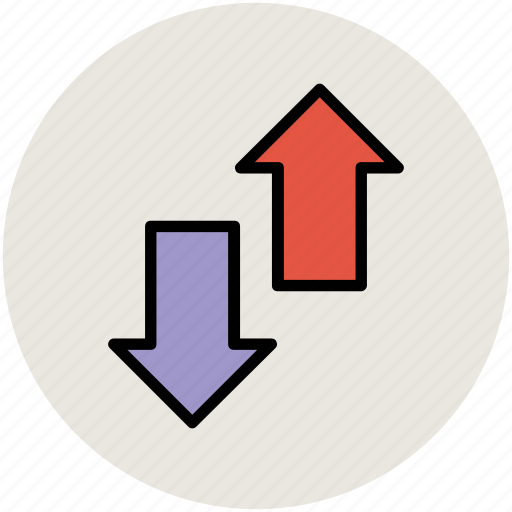 arrows, directional arrow, down arrow, downloading arrow, up arrow, uploading arrow icon