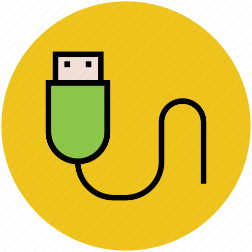 computer cable, data cable, power cable, usb cable, usb lead icon