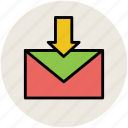 down arrow, email, envelop, inbox, incoming email, letter icon
