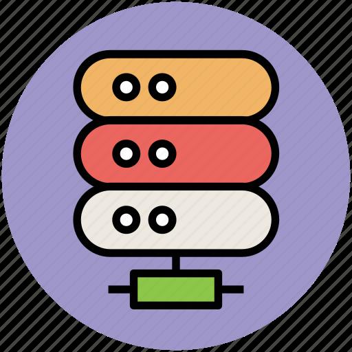 data, data storage, database, hosting, rack, server, web host icon