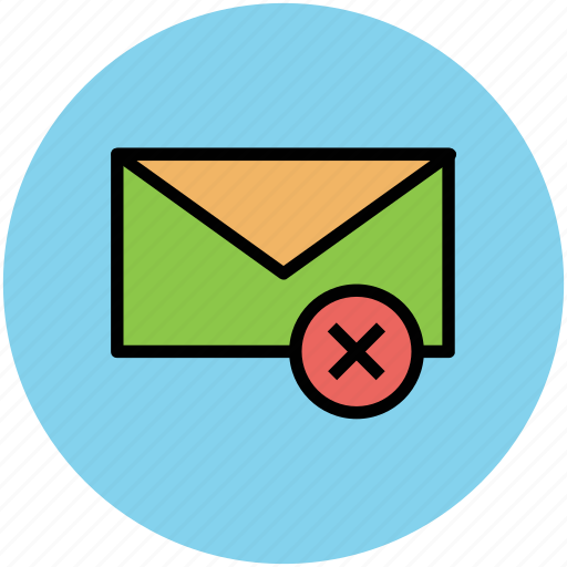 cancal email, cross sign, delete email, email, remove email icon