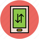 arrows, data sharing, data transfer, mobile, mobile connectivity icon