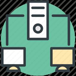 computing, server hosting, workstation, workstation network, workstation networking icon
