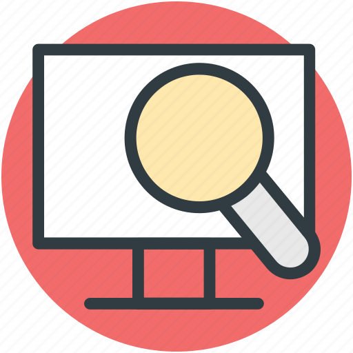 computer screen, discovery, explore, magnifier, research icon
