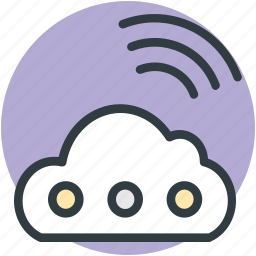 cloud, cloud computing, wifi signals, wifi zone, wireless network icon