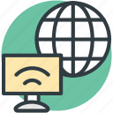 computer, globe, wifi signals, wireless internet, wireless network icon
