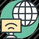 computer, globe, wifi signals, wireless internet, wireless network