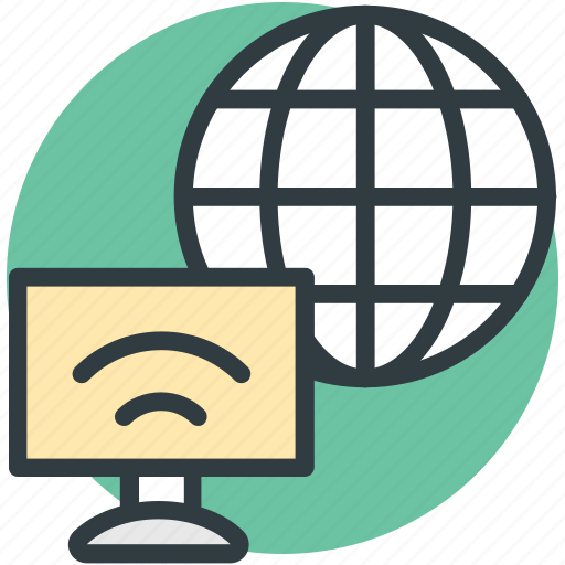 computer, globe, wifi signals, wireless internet, wireless network icon