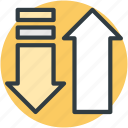 arrows, directional arrows, download, upload, upward icon