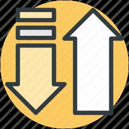 arrows, directional arrows, download, upload, upward icon