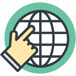 finger touch, global network, globalization, globe, hyperspace icon