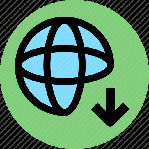 down, download, network, web icon