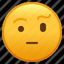 emoji, eyebrow, face, raised, smiley, with